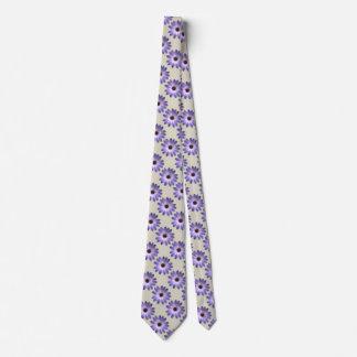 Purple Daisy on Stone Leather Print Tie