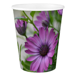 Purple Daisy Paper Cup