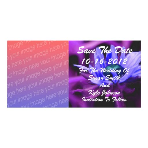 Purple Daisy Photo Wedding Save The Date Personalized Photo Card