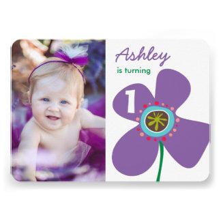 Purple Daisy Pop Girl Photo 1st Birthday Invite