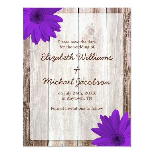 Purple Daisy Rustic Barn Save the Date Card