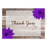 Purple Daisy Rustic Barn Wood Thank You Note Card