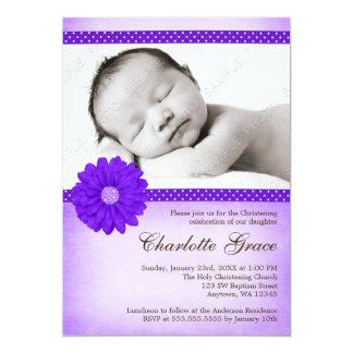 Purple Daisy Sparkle Photo Baptism Christening 13 Cm X 18 Cm Invitation Card