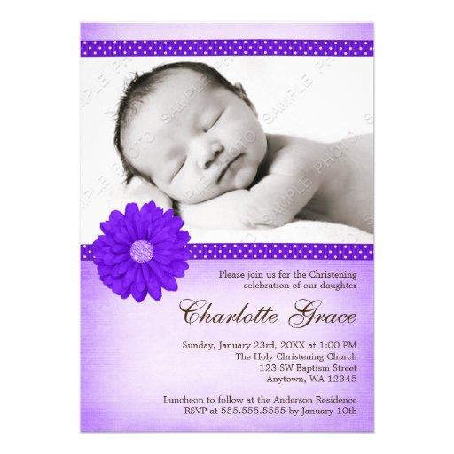 Purple Daisy Sparkle Photo Baptism Christening Custom Invitations