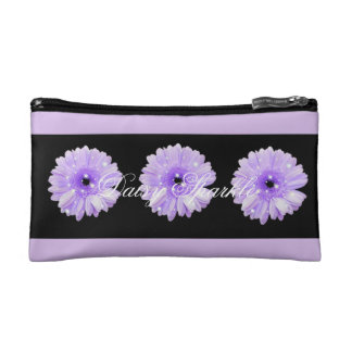 Purple Daisy Sparkle Small Cosmetic Bag
