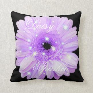 Purple Daisy Sparkle Throw Pillow