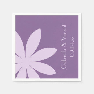 Purple Daisy Wedding Paper Napkin