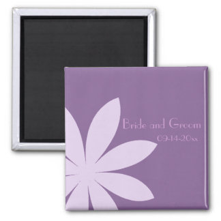 Purple Daisy Wedding Save the Date Square Magnet