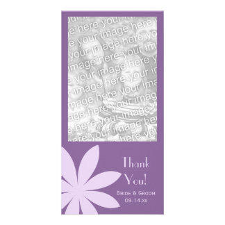 Purple Daisy Wedding Thank You Card