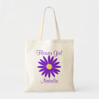 Purple Daisy with Customizable Text Canvas Bags