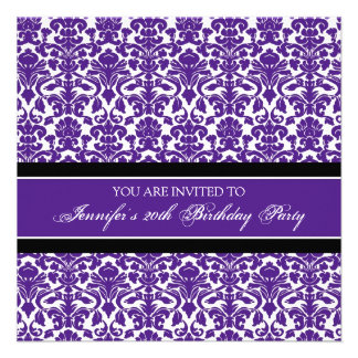 Purple Damask 20th Birthday Party Invitations
