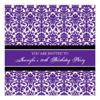 Purple Damask 20th Birthday Party Invitations