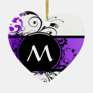 Purple damask and monogram christmas ornaments