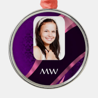 Purple damask and personalized photo christmas ornaments