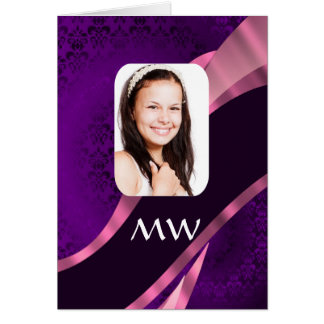 Purple damask and personalized photo greeting card