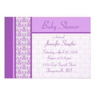 Purple Damask Baby Shower Invitation