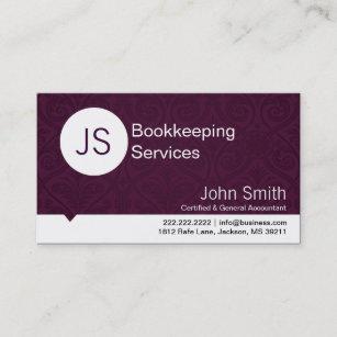 Bookkeeping business cards business card printing zazzle uk purple damask bookkeepingaccounting business card reheart Choice Image