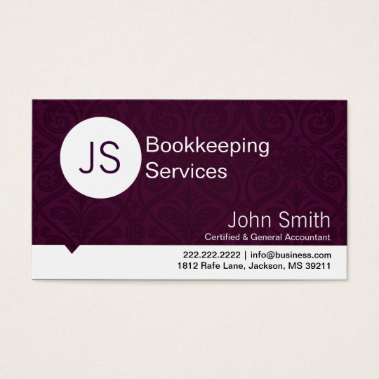Purple Damask Bookkeeping/Accounting business card