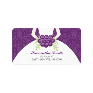 Purple Damask Bridal Shower Address Label