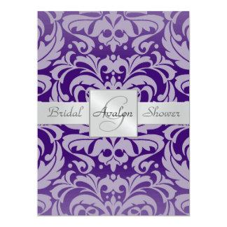 Purple Damask Bridal Shower Monogram Invitation