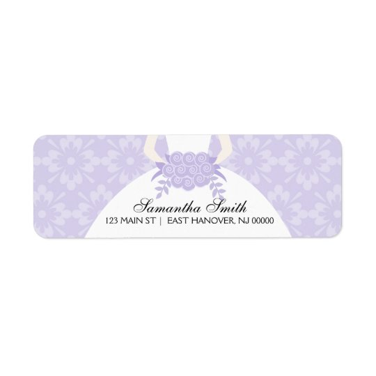 Purple Damask Bridal Shower Return Address Label