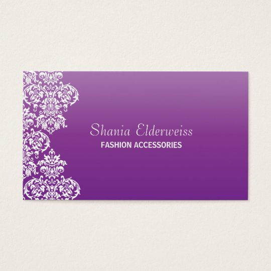 Purple Damask Business Card