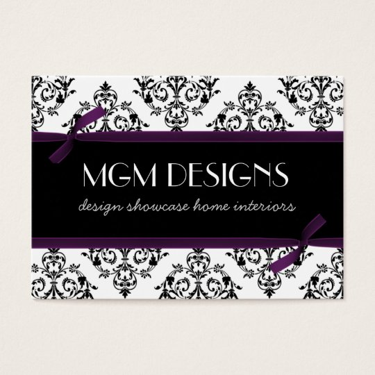 purple damask Business Cards