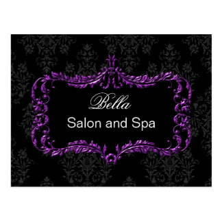 purple damask business ThankYou Cards Postcard
