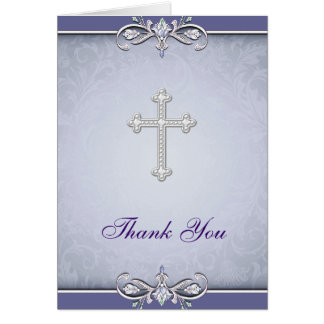Purple Damask Christian Cross Thank You Card