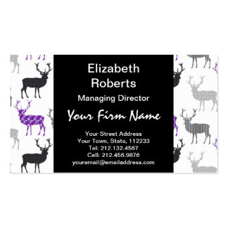 Purple Damask Christmas Deer Stag Pattern Pack Of Standard Business Cards
