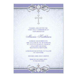 Purple Damask Cross First Communion 13 Cm X 18 Cm Invitation Card