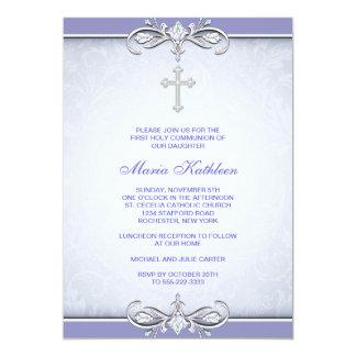 Purple Damask Cross First Communion Personalized Invites