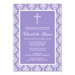 Purple Damask Cross Girl Baptism Christening 13 Cm X 18 Cm Invitation Card
