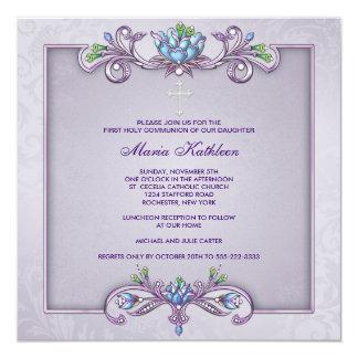 Purple Damask Cross Girls First Communion Card