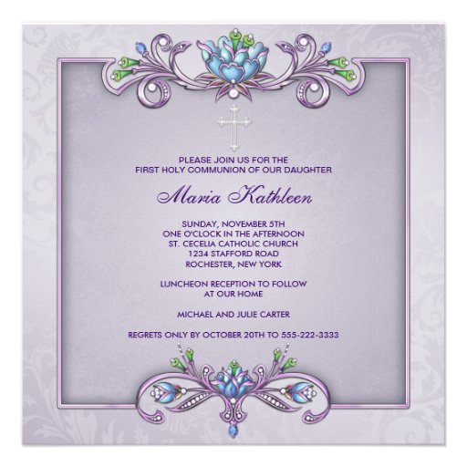 Purple Damask Cross Girls First Communion Custom Invitations