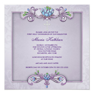 Purple Damask Cross Girls First Communion 5.25x5.25 Square Paper Invitation Card