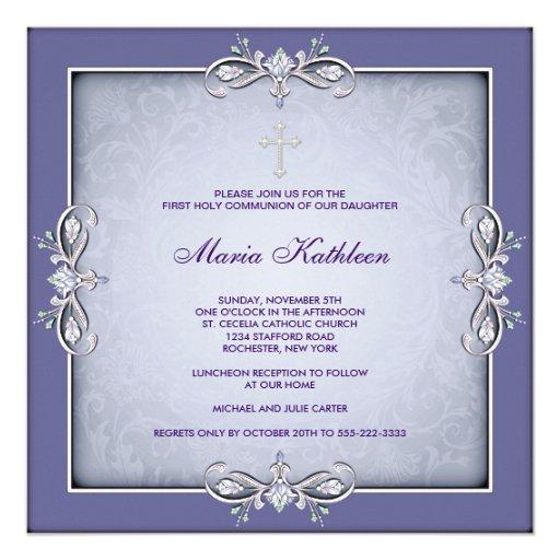 Purple Damask Cross Girls First Communion Custom Announcements
