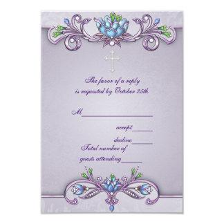 Purple Damask Cross Girls First Communion RSVP 9 Cm X 13 Cm Invitation Card