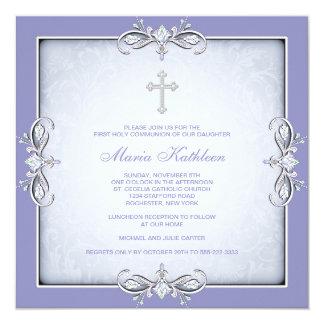 Purple Damask Cross Girls Purple First Communion Card
