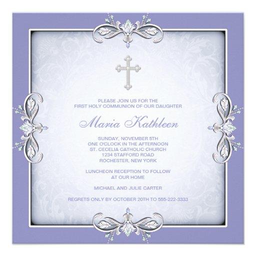 Purple Damask Cross Girls Purple First Communion Invite