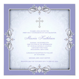 "Purple Damask Cross Girls Purple First Communion 5.25"" Square Invitation Card"