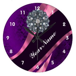 Purple damask & crystal clocks