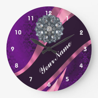 Purple damask & crystal large clock