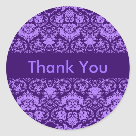 Purple Damask Customisable Thank You Classic Round Sticker