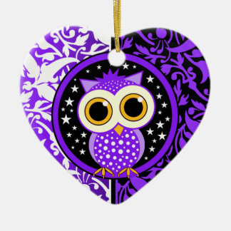 purple damask cute owl christmas ornament