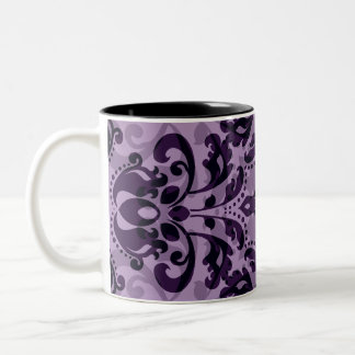 Purple damask desire Two-Tone coffee mug