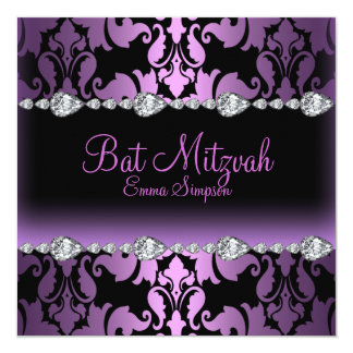 Purple Damask & Diamond Bat Mitzvah Invite