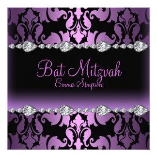 Purple Damask Diamond Bat Mitzvah Invite