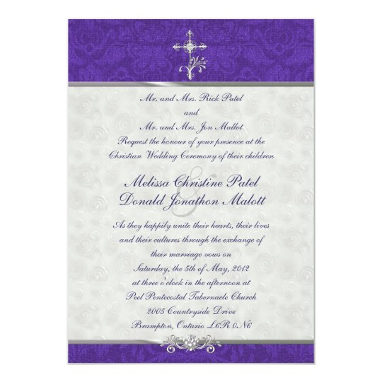 Purple Damask Double Ceremony Wedding Invitation