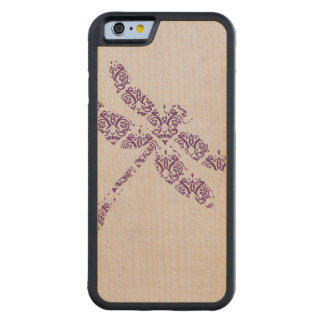 Purple Damask Dragonfly Wedding Carved Maple iPhone 6 Bumper Case